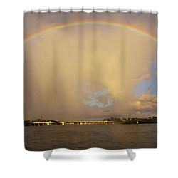 Rainbow Jupiter Inlet Shower Curtain by Bruce Bain