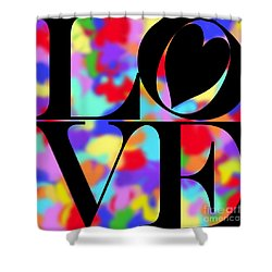 Rainbow Love In Black Shower Curtain by Kasia Bitner