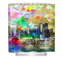 Rainbow Nyc Skyline Shower Curtain