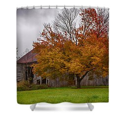 Shower Curtain featuring the photograph Rainbow Of Color In Front Of Nh Barn by Jeff Folger