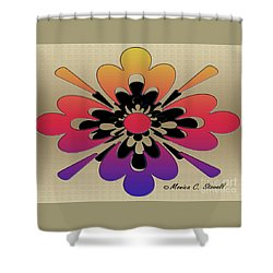 Rainbow On Gold Floral Design Shower Curtain