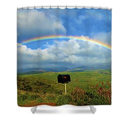 Rainbow Over A Mailbox Shower Curtain by Kicka Witte