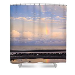 Shower Curtain featuring the photograph Rainbow Over Bramble Bay by Peta Thames