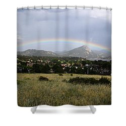 Rainbow Over Lake Estes Shower Curtain