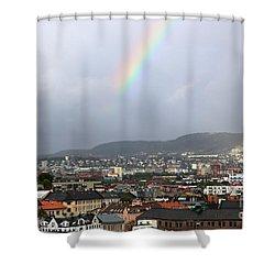 Rainbow Over Oslo Shower Curtain by Carol Groenen