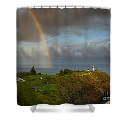 Rainbow Over Kilauea Lighthouse On Kauai Shower Curtain