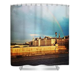 Rainbow Over The Seine. Shower Curtain by Allan Piper