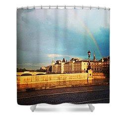 Rainbow Over The Seine. Shower Curtain