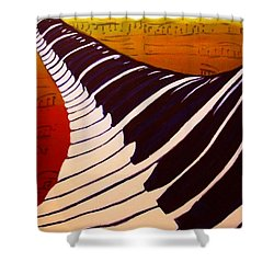 Rainbow Piano Keyboard Twist In Acrylic Paint With Sheet Music Notes In Blue Yellow Orange Red Shower Curtain by M Zimmerman MendyZ