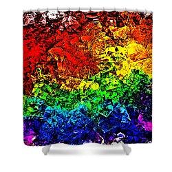 Shower Curtain featuring the digital art Rainbow Pieces by Bartz Johnson