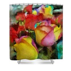 Rainbow Roses Watercolor Digital Painting Shower Curtain by Eti Reid