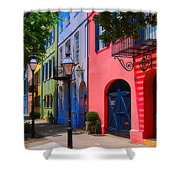 Rainbow Row Charleston Shower Curtain by Skip Willits