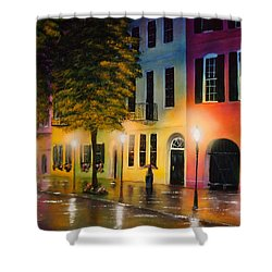 Shower Curtain featuring the painting Rainbow Row by Chris Fraser