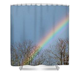 Shower Curtain featuring the photograph Rainbow Through The Tree Tops by Kristen Fox