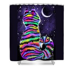Rainbow Tiger Cat Shower Curtain