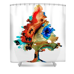 Rainbow Tree 2 - Colorful Abstract Tree Landscape Art Shower Curtain by Sharon Cummings