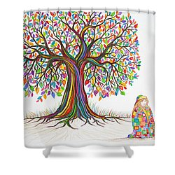 Rainbow Tree Dreams Shower Curtain by Nick Gustafson