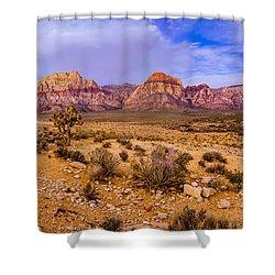 Rainbow Wilderness Panorama At Red Rock Canyon Before Sunrise - Las Vegas Nevada Shower Curtain