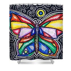 Rainbows And Butterflies Shower Curtain by Shana Rowe Jackson