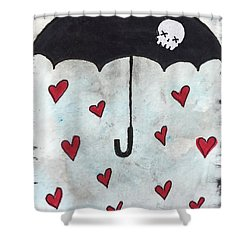Shower Curtain featuring the painting Raindrops Of Love by Oddball Art Co by Lizzy Love