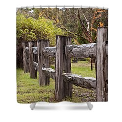 Raindrops On Rustic Wood Fence Shower Curtain by Michelle Wrighton