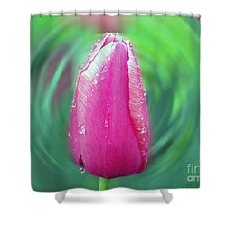 Shower Curtain featuring the photograph Rained Upon Pink Tulip by Gena Weiser