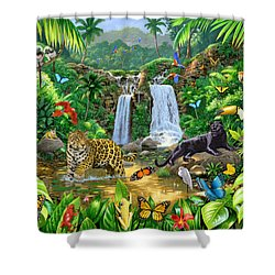 Rainforest Harmony Variant 1 Shower Curtain by Chris Heitt