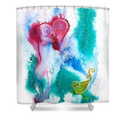 Raining Hearts Birdy Shower Curtain