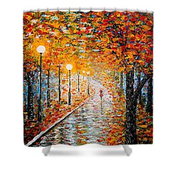 Shower Curtain featuring the painting Rainy Autumn Day Palette Knife Original by Georgeta  Blanaru