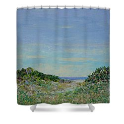 Rainy Day Beach Blues Shower Curtain