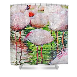 Rainy Day Flamingos 2 Shower Curtain