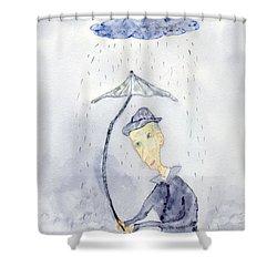Rainy Day Man Shower Curtain