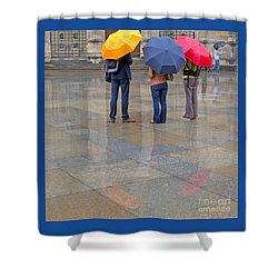 Rainy Day Tourists Shower Curtain by Ann Horn