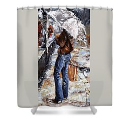 Rainy Day - Woman Of New York 15 Shower Curtain by Emerico Imre Toth