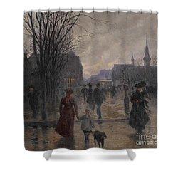 Rainy Evening On Hennepin Avenue Shower Curtain by Robert Koehler