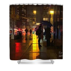 Rainy Night New York Shower Curtain