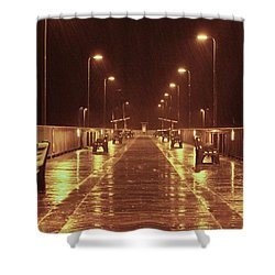 Rainy Night On The Pier Shower Curtain