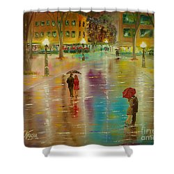 Shower Curtain featuring the painting Rainy Reflections by Chris Fraser