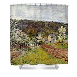Rainy Spring Near Paris Shower Curtain by Alfred Sisley