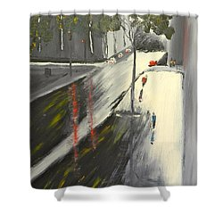 Shower Curtain featuring the painting Rainy Street In Melbourne by Pamela  Meredith