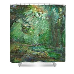 Shower Curtain featuring the painting Rainy Woods by Mary Wolf