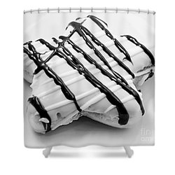 Raised Iced Star Shaped Donut - Chocolate Drizzles - Baker- Bakery - Bw  Shower Curtain by Andee Design