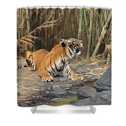 Raising His Voice Shower Curtain