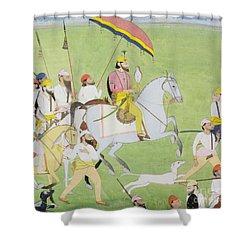 Rajah Dhian Singh Hunting Shower Curtain by Indian School