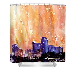 Raligh Skyline Sunset Shower Curtain