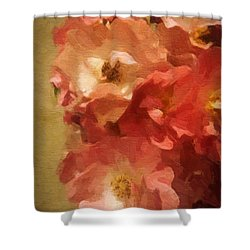 Shower Curtain featuring the digital art Ramblin Rose Memories by Lianne Schneider