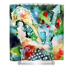 Randy Rhoads Playing The Guitar - Watercolor Portrait Shower Curtain