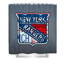 Rangers Original Six Hockey Team Retro Logo Vintage Recycled New York License Plate Art Shower Curtain