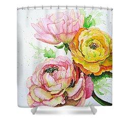 Ranunculus Flowers Shower Curtain by Zaira Dzhaubaeva