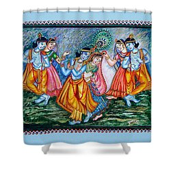 Shower Curtain featuring the painting Ras Leela by Harsh Malik